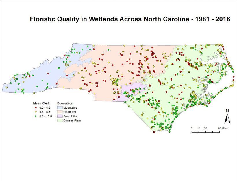 Mean C-all in wetlands across North Carolina (N=2,009, years 1981-2016)