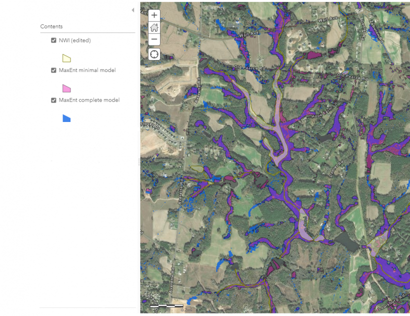 Example area showing greater prediction of wetlands with MaxEnt models than mapped by NWI